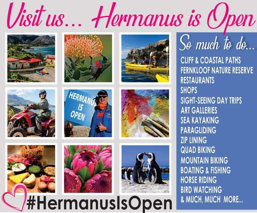 Hermanus is open - with loads of things to see and do - come and enjoy the ocean and wide open countryside spaces #HermanusIsOpen